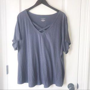 Lane Bryant Criss Cross Neckline Grey Shirt